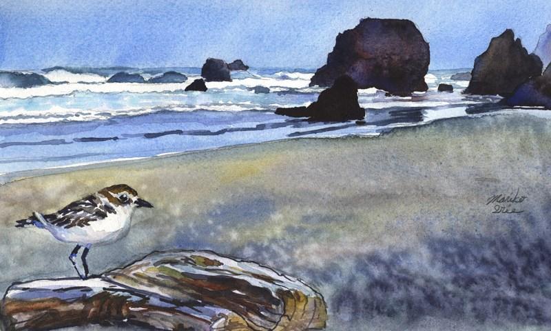 """""""A Bird at the Beach"""" original fine art by Mariko Irie"""