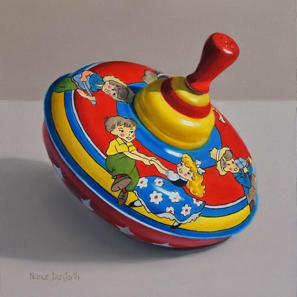 """Toy Top with Children Dancing"" original fine art by Nance Danforth"