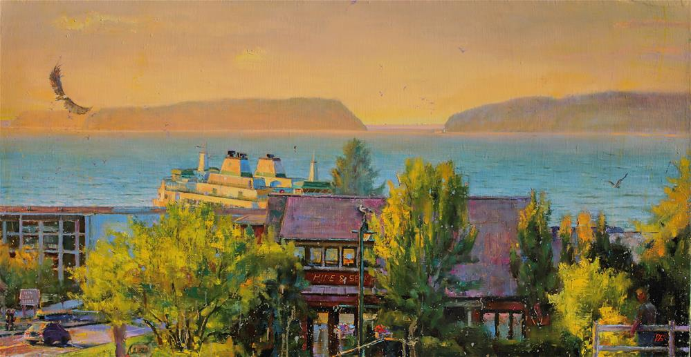 """Sunset on the Sound № 3"" original fine art by Dimitriy Gritsenko"