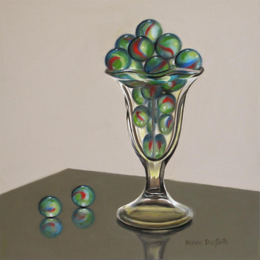 """Marbles in Sundae Glass II"" original fine art by Nance Danforth"