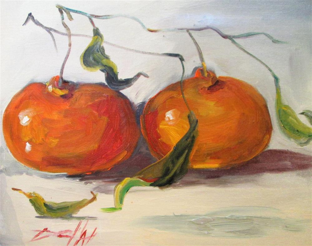 """""""Two Tangerines"""" original fine art by Delilah Smith"""