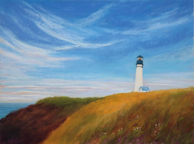 """""""Yaquina from Afar"""" original fine art by Sharon Lewis"""