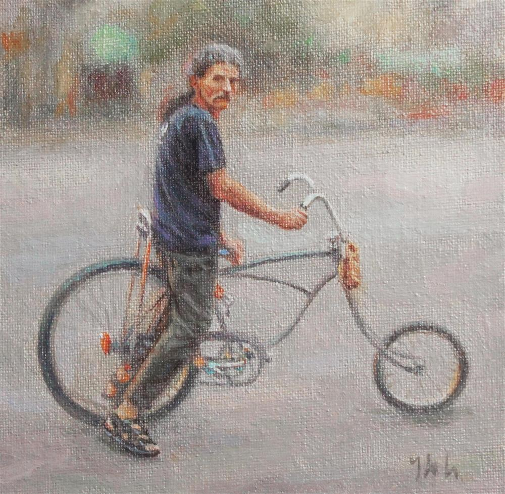 """The Bikeman"" original fine art by Yuehua He"