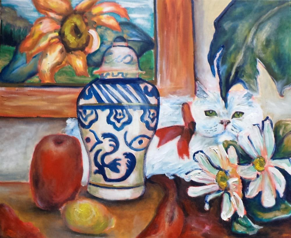 """Kitty Sunflower still life inspired"" original fine art by tara stephanos"
