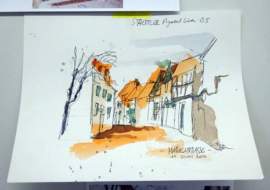 """1761 Sketching in Osnabrueck"" original fine art by Dietmar Stiller"