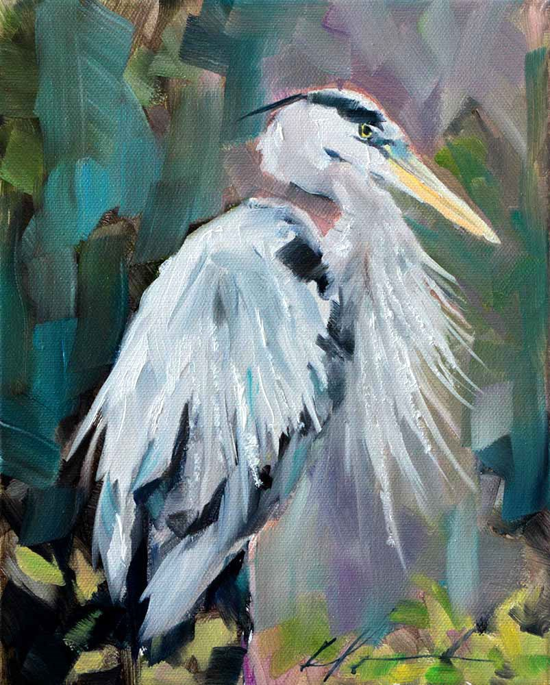 """""""Blue Heron"""" original fine art by Clair Hartmann"""