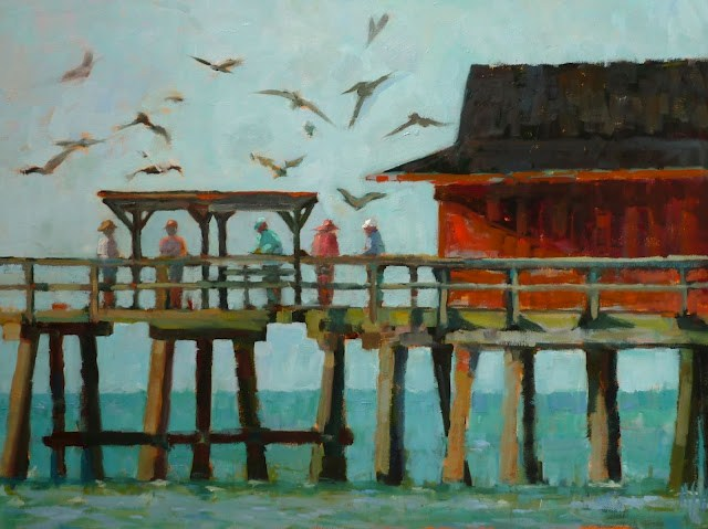 """""""Cleaning the Catch on Naples Pier 18x24 Iconic Naples Pier  FRAMED I can send a photo of the framed piece."""" original fine art by Mary Sheehan Winn"""