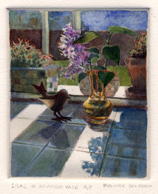 """""""Etching: Lilacs in an Amber Vase (& an inking and wiping video)"""" original fine art by Belinda Del Pesco"""