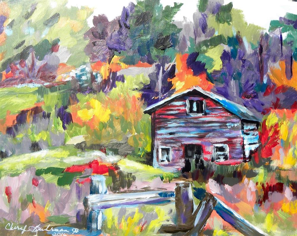 """Country Cabin"" original fine art by cheryl buhrman"