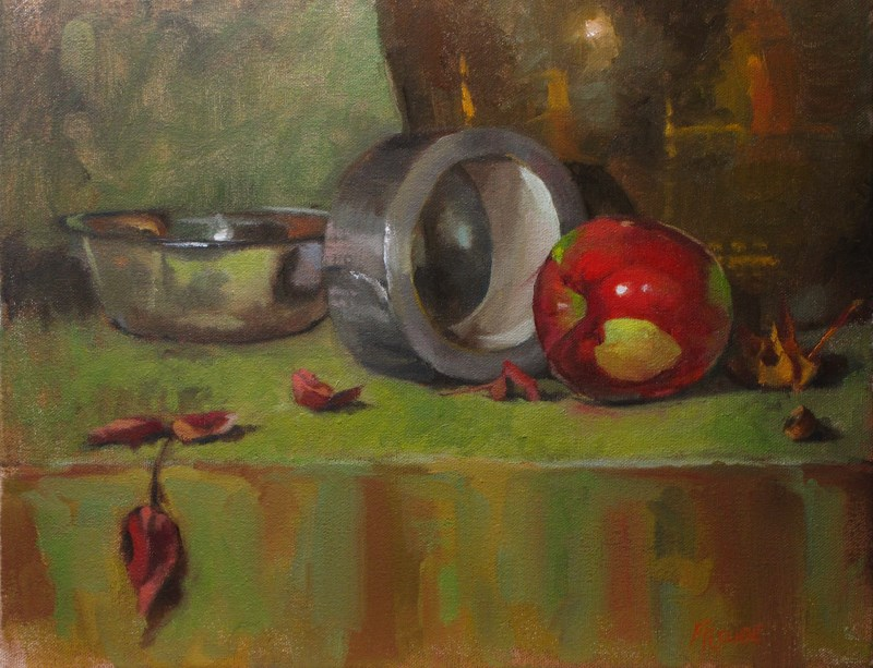 """""""Apple and duct tape"""" original fine art by Dave Froude"""