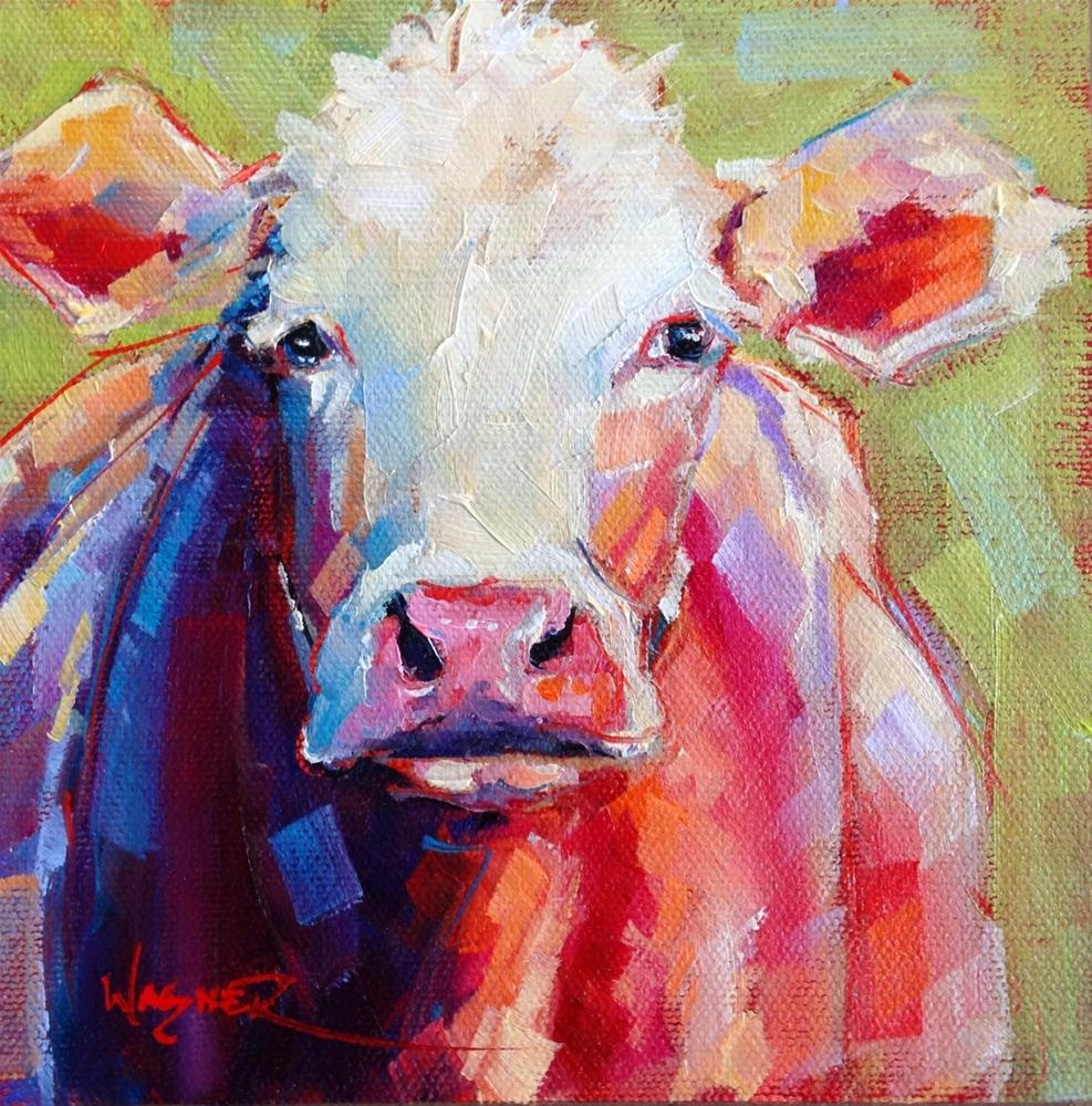 """""""CONTEMPORARY COW PAINTING in OILS by OLGA WAGNER"""" original fine art by Olga Wagner"""
