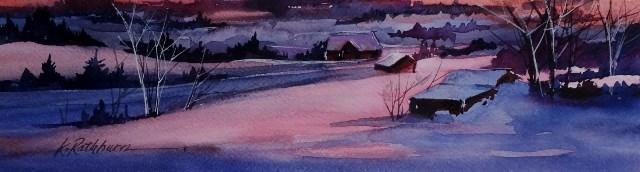 """Winter at Sunset"" original fine art by Kathy Los-Rathburn"