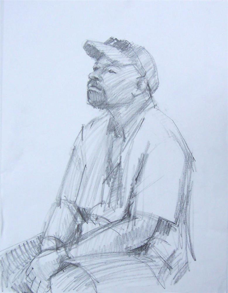 """""""Any Time Now,figure,graphite drawing,24x18,price$200"""" original fine art by Joy Olney"""