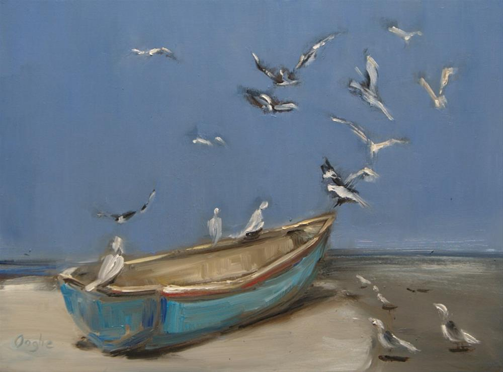 """""""Boat on Shore"""" original fine art by Angela Ooghe"""