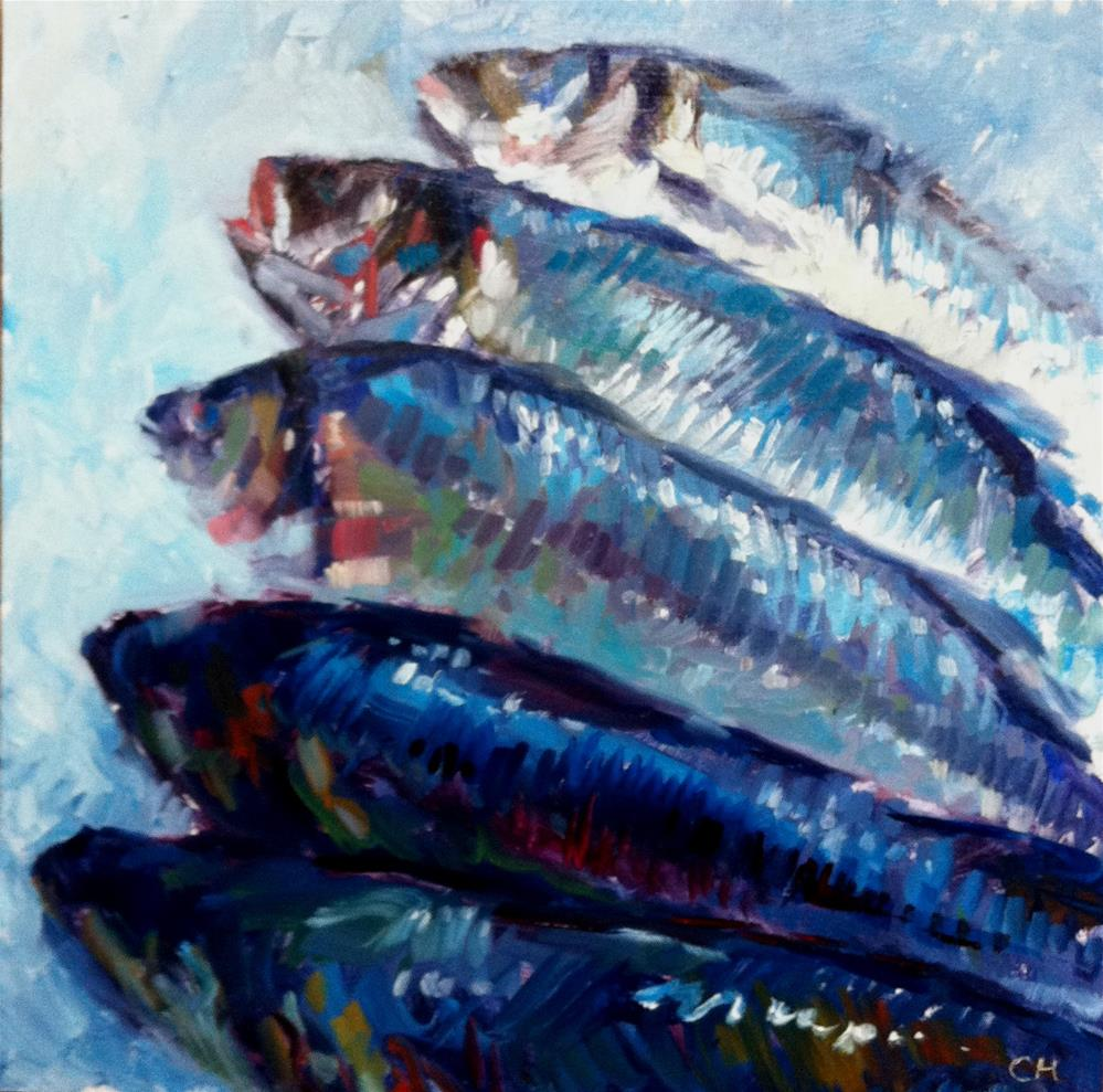"""""""blue fishes"""" original fine art by Catherine Harley"""