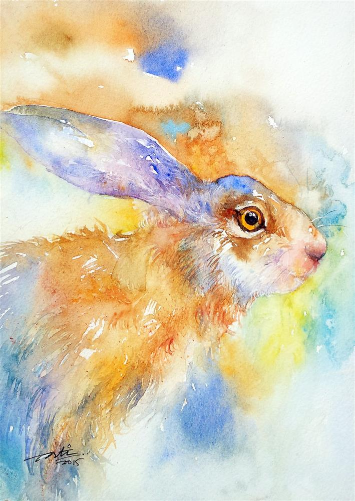 """Camouflage hare"" original fine art by Arti Chauhan"