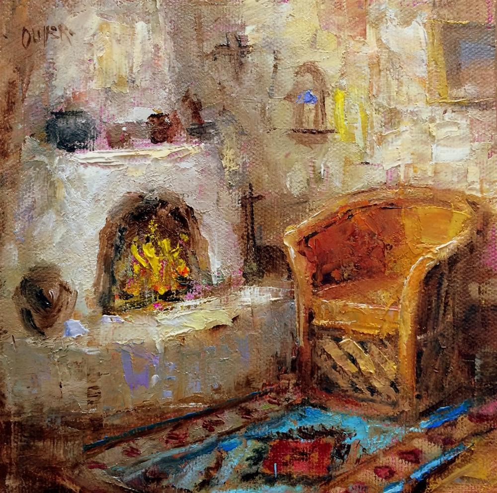 """""""By The Fire In New Mexico - day 11 of the challenge"""" original fine art by Julie Ford Oliver"""