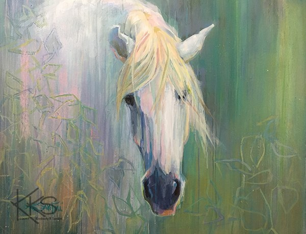 """""""The Knight in Shining Armor Was No More Than Eye Candy, So She Left Him Behind When She Had Serious"""" original fine art by Kimberly Santini"""