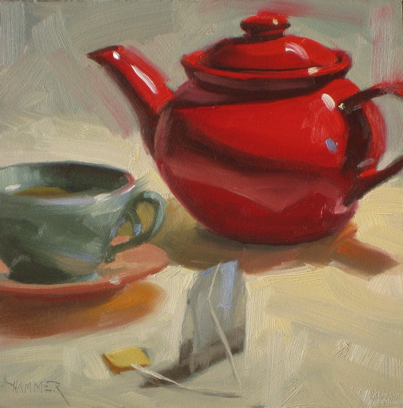 """One for tea  6x6  oil"" original fine art by Claudia Hammer"