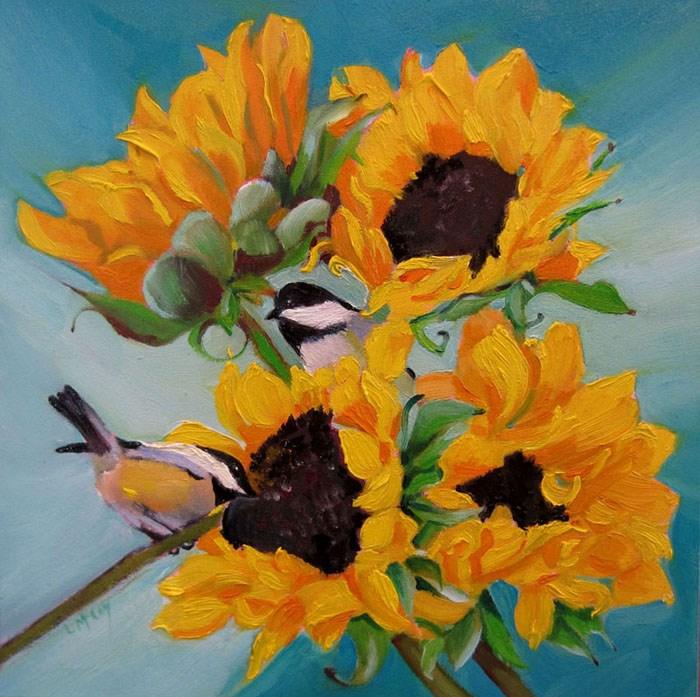 """Frolic, Chickadee Birds"" original fine art by Linda McCoy"