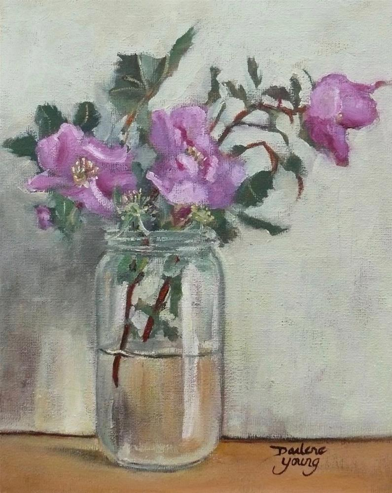 """1115 Wild Roses, 8x10, oil on board"" original fine art by Darlene Young"