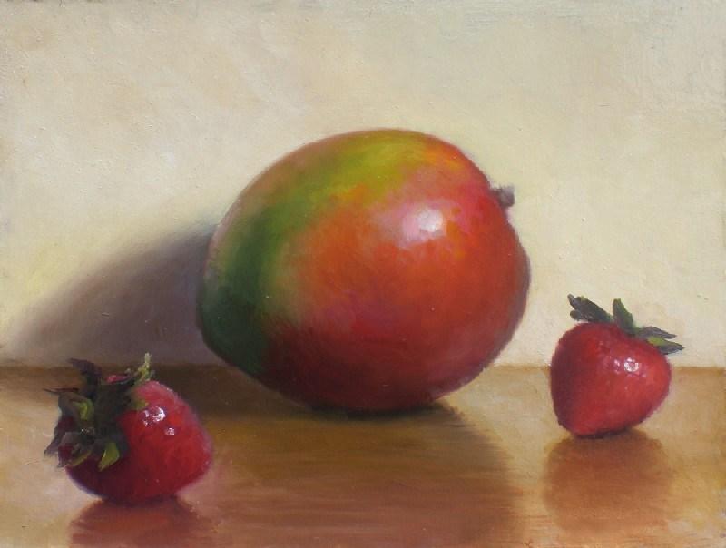 """Mango and Strawberries"" original fine art by Debra Becks Cooper"