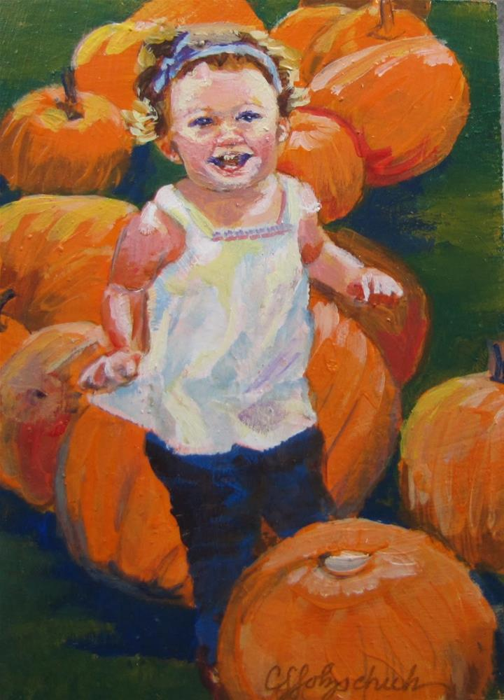 """Little Pumpkin"" original fine art by Christine Holzschuh"