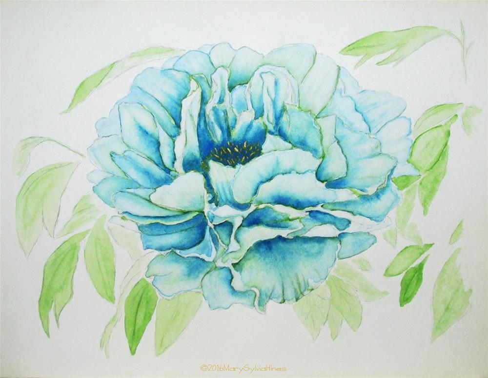 """Blue Peony 01"" original fine art by Mary Sylvia Hines"