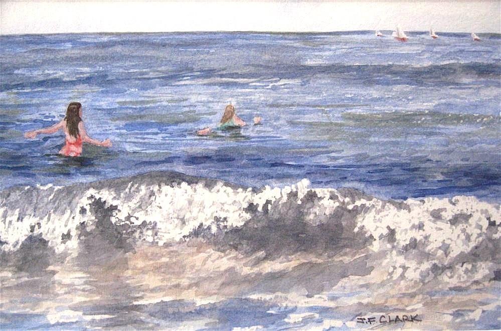 """Surfer Girls, framed"" original fine art by Judith Freeman Clark"