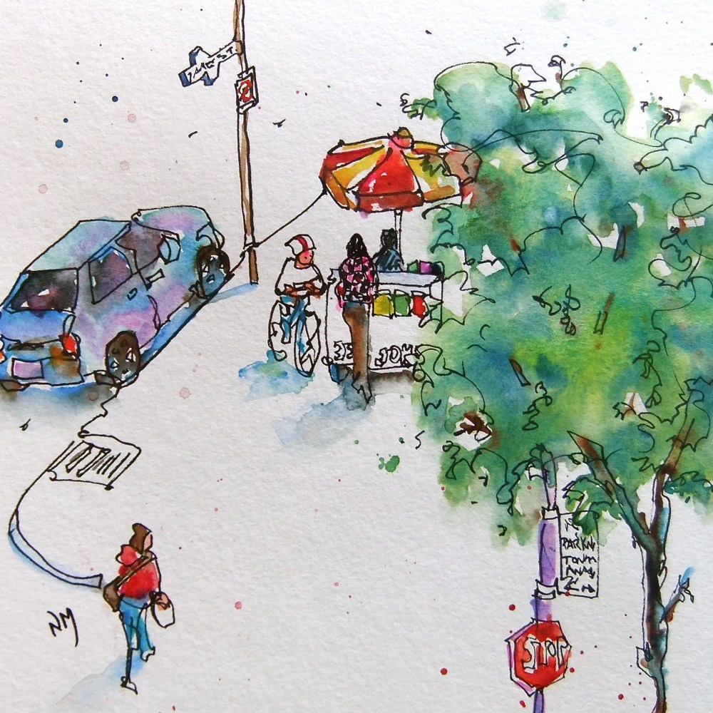 """the hotdog stand"" original fine art by Nora MacPhail"