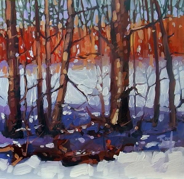 """No. 755 First Snow"" original fine art by Robin J Mitchell"