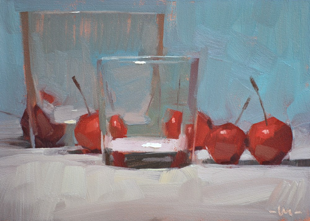 """Dance of the Cherry Plums"" original fine art by Carol Marine"