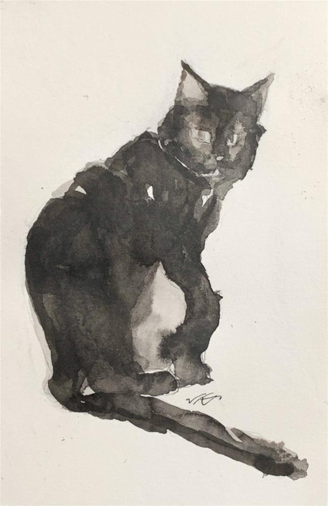 """daily Cat 73"" original fine art by Jean Krueger"