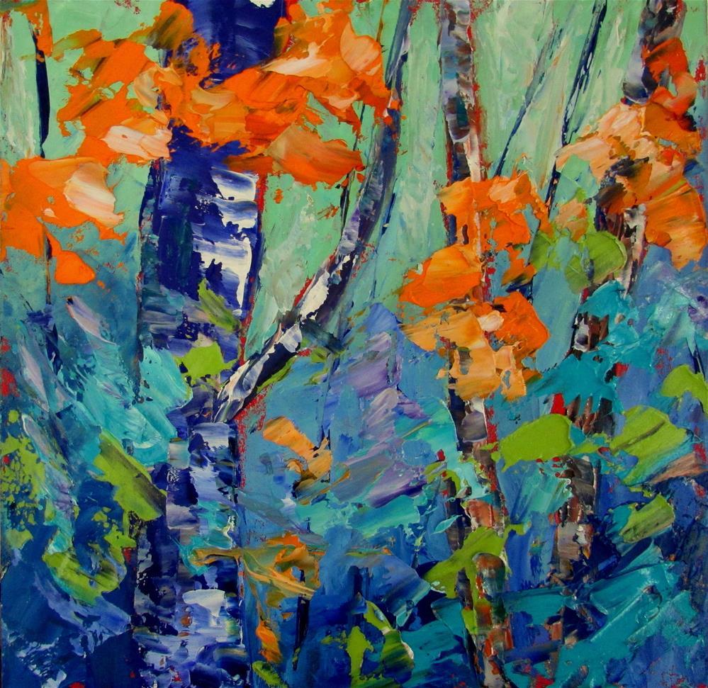"""""""8 x 8 oil Little Birches #2"""" original fine art by Linda Yurgensen"""
