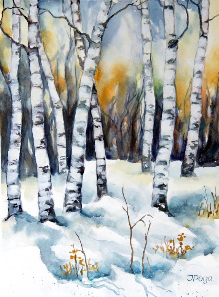 """Winter birches"" original fine art by Inese Poga"