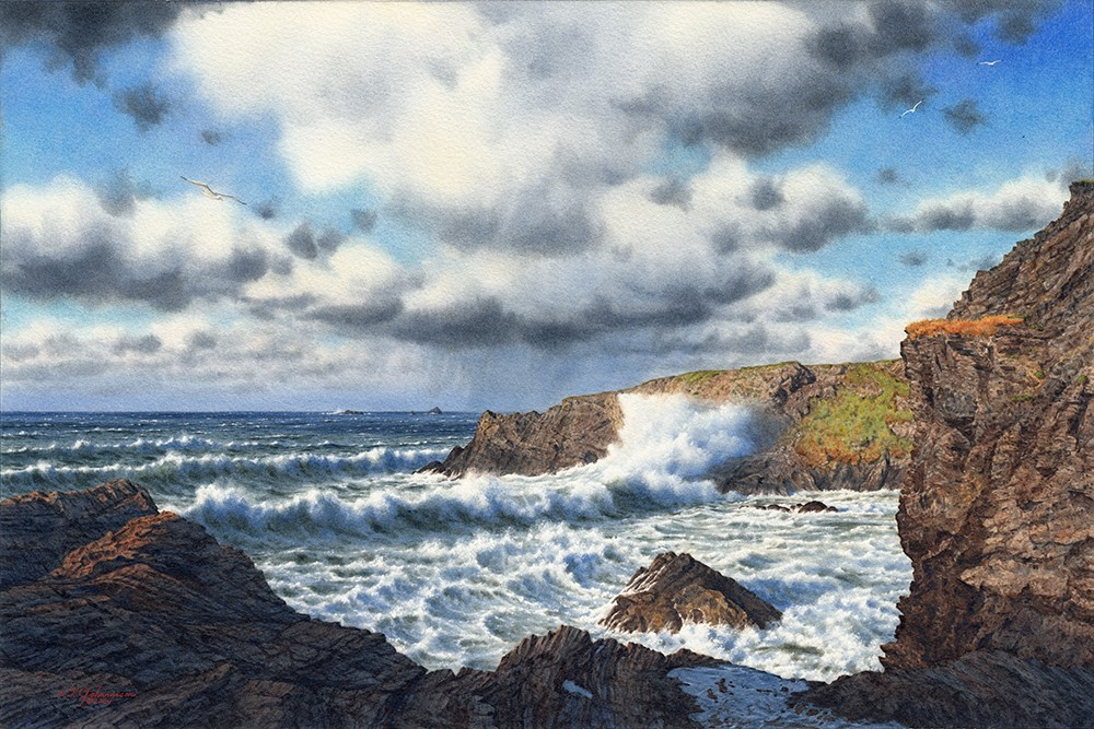 """""Blustery Day at Fox Cove"" (Cornwall, England)"" original fine art by Steven Thor Johanneson"