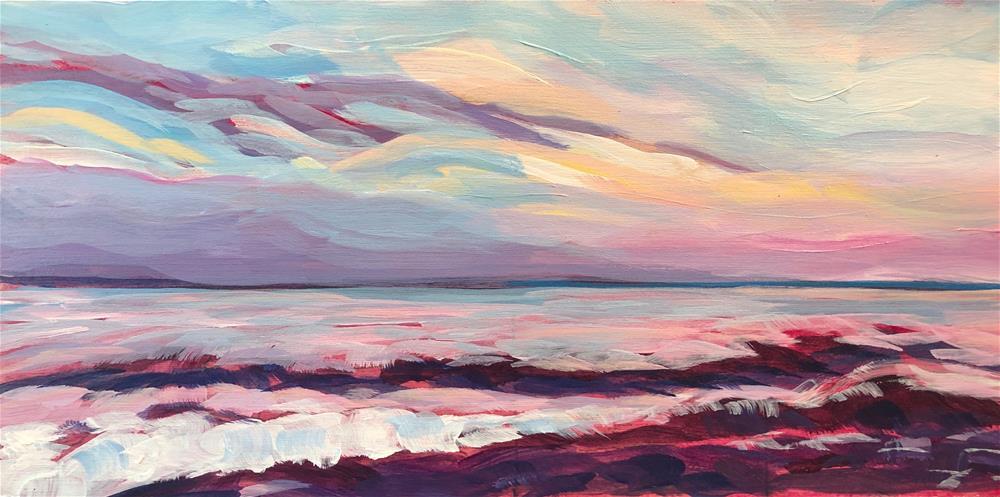 """Cobblestone Sunset"" original fine art by Kat Corrigan"
