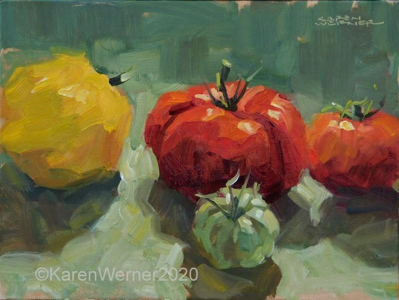"""""""Tomato Drama"""" original fine art by Karen Werner"""