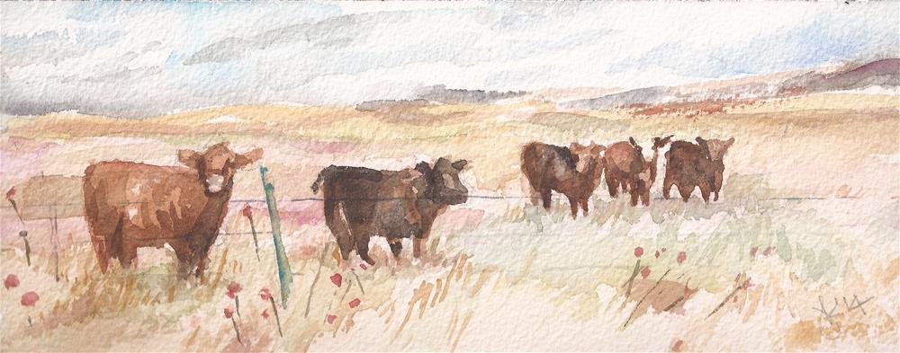"""""""Colorado Cattle"""" original fine art by Jean Krueger"""