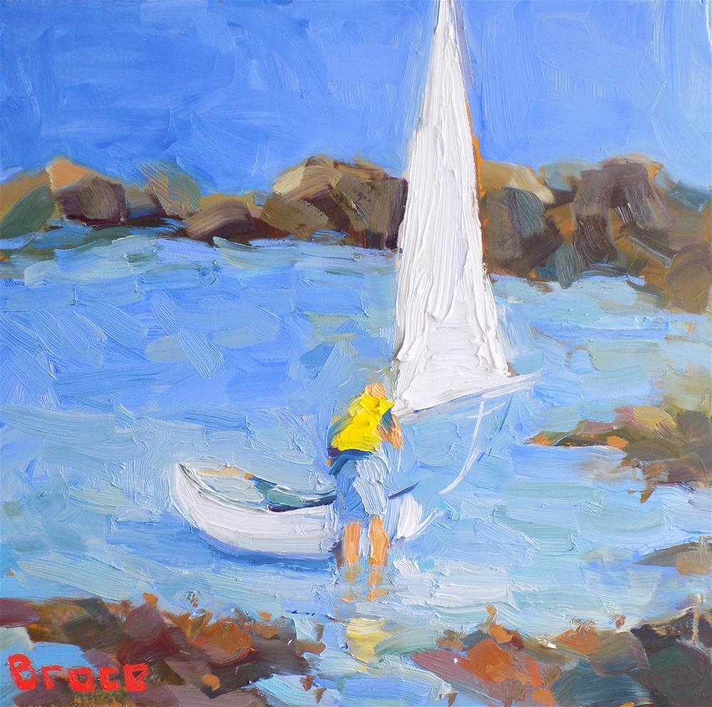 """Maine Sail With Figure"" original fine art by Rita Brace"