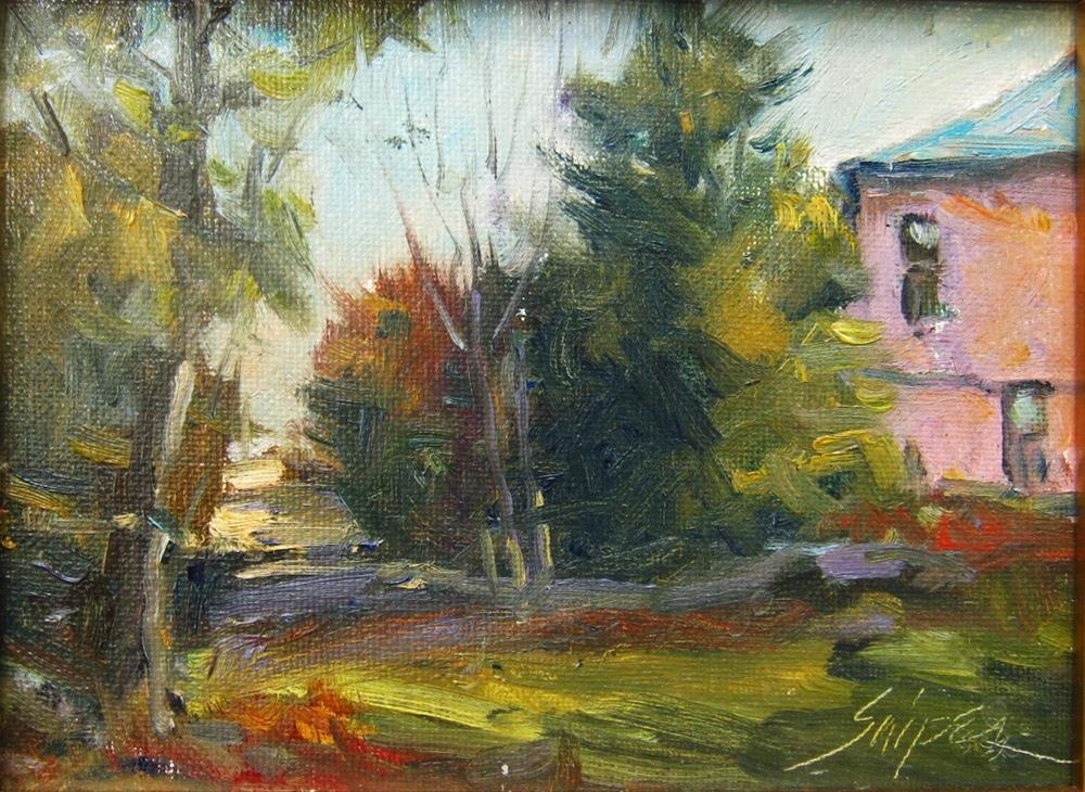 """""""The Pink House"""" original fine art by Connie Snipes"""