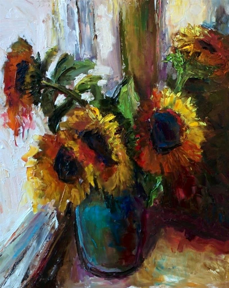 """Sunflowers by the Window 24x30"" original fine art by pepa sand"