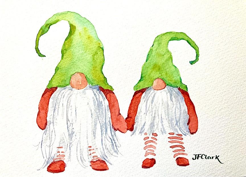 """Holiday Stroll, sketch"" original fine art by Judith Freeman Clark"