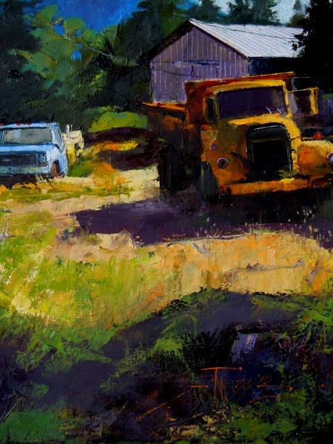 """Quilcene Trucks oil landscape painting ,"" original fine art by Robin Weiss"