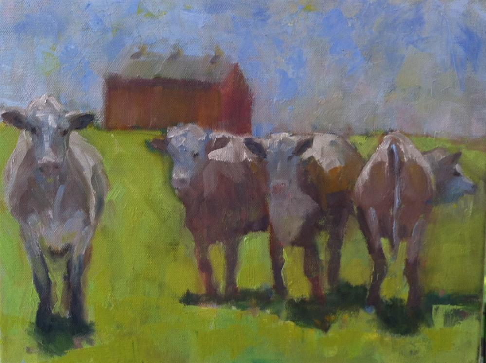 """Four Curious Cows"" original fine art by Katharine March"