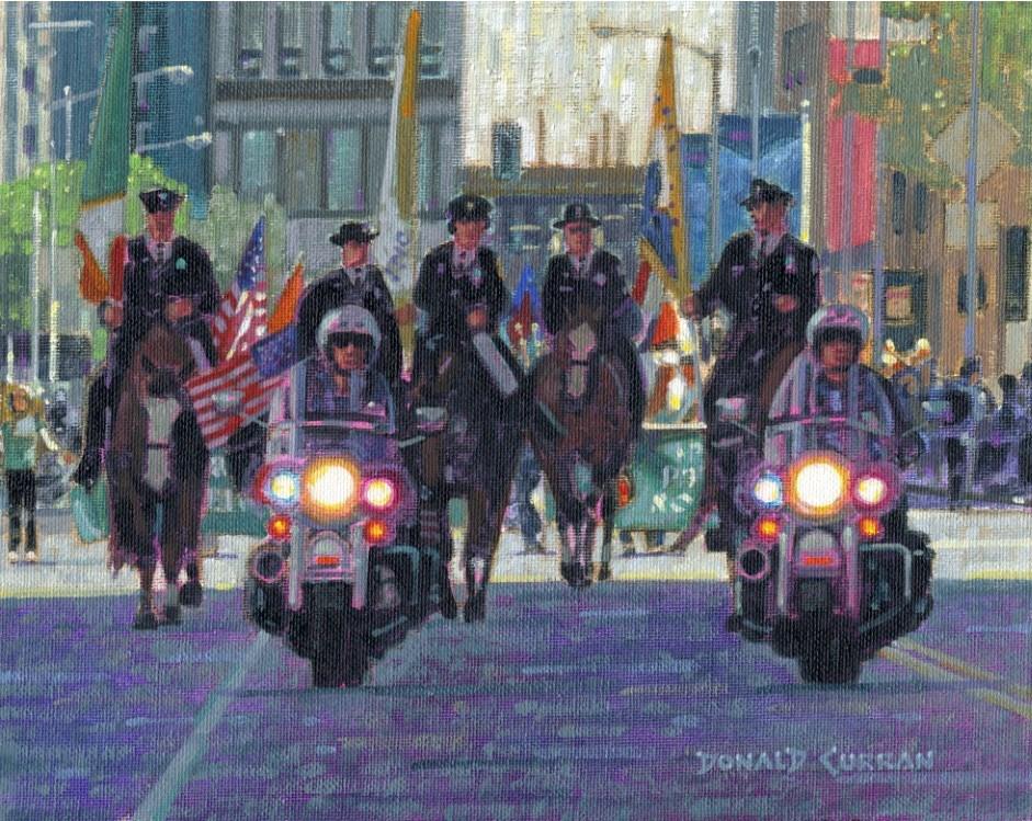 """Leading the Parade"" original fine art by Donald Curran"