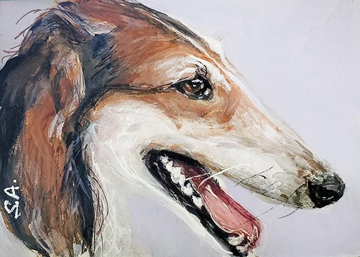 """""""Greyhound (ACEO)"""" original fine art by Sunny Avocado"""