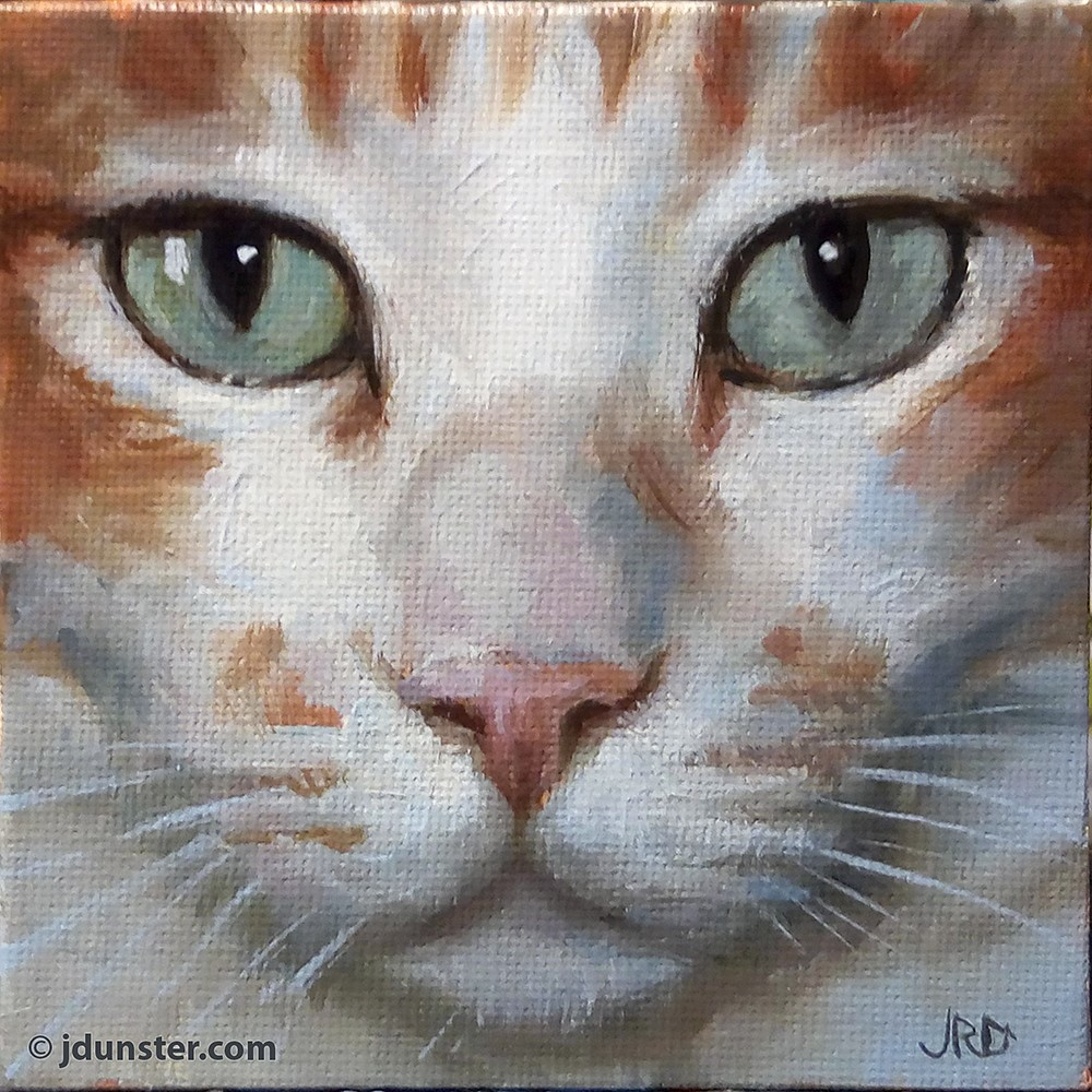 """Pretty Green Eyes & Pink Nose"" original fine art by J. Dunster"