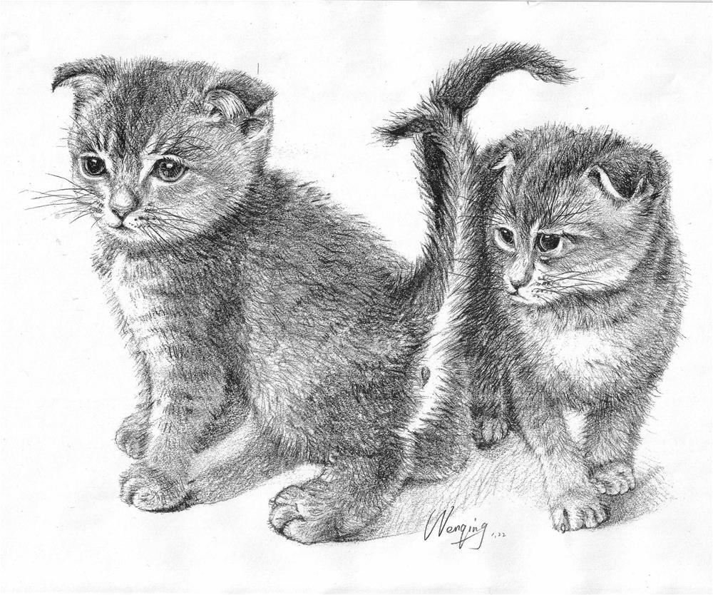 """""""two cats"""" original fine art by Wenqing Xu"""