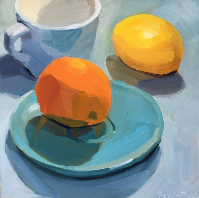 """Orange on Blue Plate with Lemon"" original fine art by Robin Rosenthal"